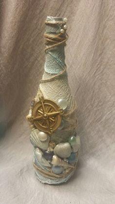 Discover thousands of images about Sea bottle Recycled Glass Bottles, Glass Bottle Crafts, Painted Wine Bottles, Decorated Wine Bottles, Wine Bottle Design, Wine Bottle Art, Diy Bottle, Halloween Potion Bottles, Jar Art