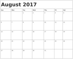 Cute August 2017 Calendar