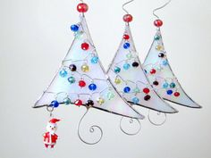 Stained Glass Christmas Tree and Santa Claus Ornament Handmade OOAK White
