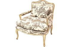 Toile makes a beautiful chair and of course makes a room pop