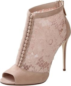 DOLCE & GABBANA Keira Lace Button Front Bootie