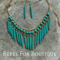 Turquoise Stone Bib Statement Necklace and by RebelFoxBoutique