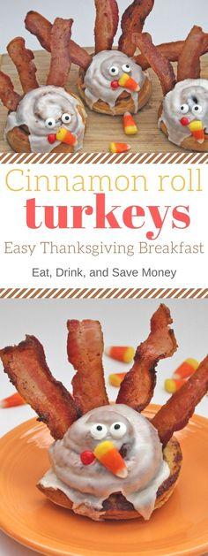 Cinnamon Roll Turkeys for Thanksgiving Breakfast
