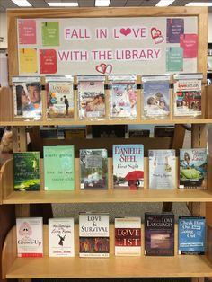 Valentine's Day and love themed library display. DVDs, fiction books, and nonfiction books.