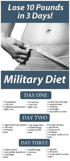 Military Diet Lose 10 Pounds in 3 Days The original Military Diet was developed in 2007 and numerous people around the world have used it to lose weight. Even though they weight detox drinks Quick Weight Loss Tips, Weight Loss Help, Losing Weight Tips, Diet Plans To Lose Weight, Weight Loss Program, How To Lose Weight Fast, Weight Gain, Reduce Weight, Diet Program