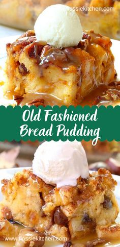 Old Fashioned Bread Pudding Recipe - Easy and simple homestead recipe to use up eggs, milk and stale bread for a tasty end result. And when you finish it with bread pudding sauce no one will be able to resist! It's one of those back to basics recipes that Old Fashion Bread Pudding Recipe, Bread Pudding Sauce, Best Bread Pudding Recipe, Easy Pudding Recipes, Simple Bread Pudding Recipe, Recipe For Old Bread, Pudding Cake, Banana Bread Puddings, Brea Pudding