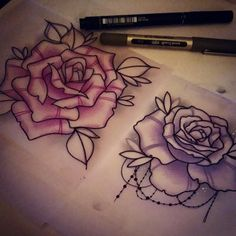 Drawing Roses Rosey things for Saturday x Baby Tattoos, Rose Tattoos, Flower Tattoos, Body Art Tattoos, Small Tattoos, Sleeve Tattoos, Kunst Tattoos, Tattoo Drawings, Flower Drawings
