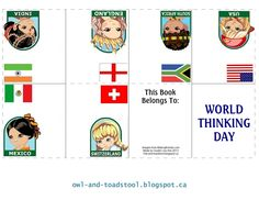 World Thinking Day mini book featuring girls and flags from India, England, Mexico, Switzerland, USA, and South Africa. Made by Lee Ann owl-and-toadstool.blogspot.ca
