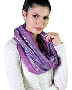 Holiday Purple Scarf. Festival Bliss Shimmer Infinity Circle Loop Scarf Boho Shawl  at  Amazon Women's Clothing. Unique Gift Ideas for Her