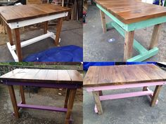 Handmade tables butchers block style.  Made to order any colour, height and stain.  Find this on Ebay hardybarn-reloved, Etsy HardybarnReloved or Facebook Upcycle Junki :)
