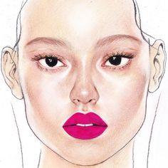 8월 글리터웨이브룩 오늘부터 9월준비 #8월 #정샘물 #facechart #jungsaemmool #drawing #pinkishred #핑키쉬레드 #글리터라이너앤마스카라 #gold #makeup #cosmetic #beautyillustration #illustration
