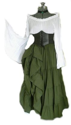 fe65638b4b Green Renaissance Pirate Gypsy Dress Chemise Corset Outfit Waist Cincher 4  pcs Wench Steampunk Costume Medieval