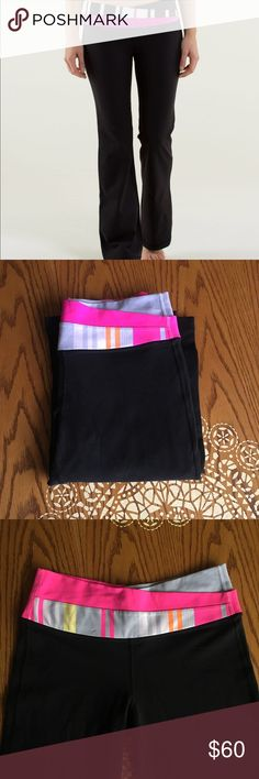 Lululemon Boot Cut Astro Full-On Luon Yoga Pants Traverse / Stripe Lululemon Astro Pant Boot Cut Yoga Pants. So super cute and comfy in the most pretty shades of pink, lavender, yellow, orange ❤️ previously loved but in great condition 🎀 lululemon athletica Pants Boot Cut & Flare