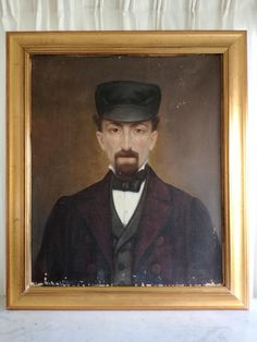 Check out this item in my Etsy shop https://www.etsy.com/listing/603944749/antique-oil-portrait-painting-on-canvas