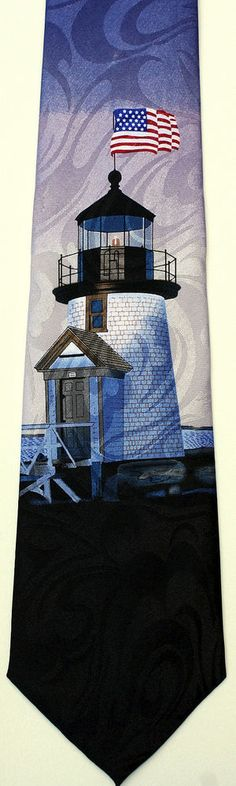 NEW MENS LIGHT HOUSE WITH USA FLAG NECK TIE