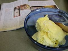 """I love cultured butter! Cultured butter starts with cultured cream. The """"culturing"""" results from leaving cream at left at room temperature to spontaneously sour Goat Milk Recipes, Great Recipes, Whole Food Recipes, Cooking Recipes, Favorite Recipes, Healthy Recipes, Coconut Milk Yogurt, Fermentation Recipes, Homemade Butter"""