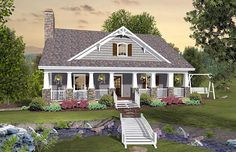 House Plan 74849 | Cottage Country Craftsman Plan with 1666 Sq. Ft., 3 Bedrooms, 3 Bathrooms, 2 Car Garage