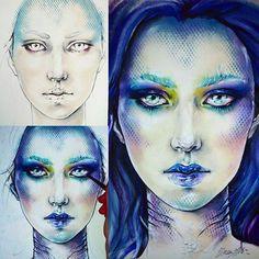 Mermaid  makeup face chart - in 3 steps #facechart #makeup #makeupforever…