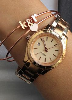 Initial Bangle Anniversary Gift Rose Gold Initial