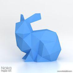 Bunny  3D papercraft model. Downloadable DIY von NokaPaperArt