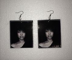Items similar to Erykah Badu Black & White Earrings on Etsy Custom Earrings, Etsy Earrings, Black And White Earrings, Etsy Shop, Artist, Nature, Black White, Theta, Jewelry