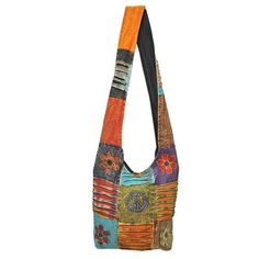 Red Carpet Studios Hippie Slouch Bag, Orange Patchwork Peace $25.00