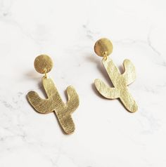 Gold Cactus Earrings.