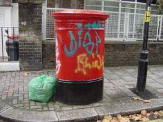 urbanartbomb #graffiti #bombing #graff #streetart - http://urbanartbomb.com/england-london-pimlico-graffiti-on-red-pillarbox-postbox-1-dhd/ - graffiti - Urban Art Bomb