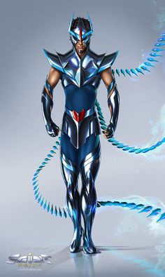 Phoenix Black Saint - Saint Seiya Project by Aioras Superhero Characters, Fantasy Characters, Dc Comics Art, Anime Comics, Manga Anime, Hiro Big Hero 6, Futuristic Armour, Old School Cartoons, Devian Art