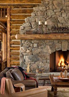 Rustic Living Room Fireplace