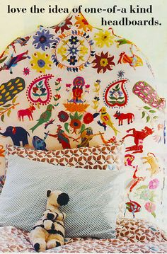 John Robshaw headboard - this would be fantastic for a little girl's room! Little People, Little Ones, Little Girls, Murs Roses, Elsa, Head Boards, Diy Couture, Textiles, The Design Files