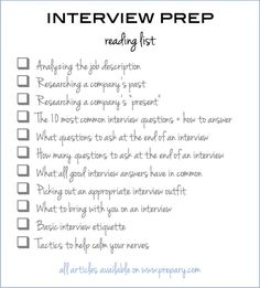 interview prep reading checklist