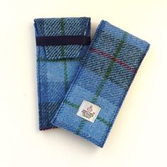 Glasses case, blue and grey tartan Harris Tweed , large sunglasses case £18.00