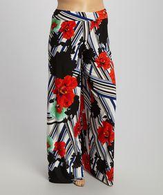 53e51f51d3608 Black  amp  Red Floral Palazzo Pants - Plus