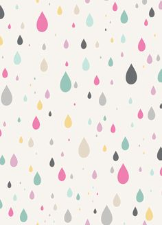 LAST 31 INCHES, Anthology Fabrics, Raining Rainbows, Raindrops in White. $8.00, via Etsy.