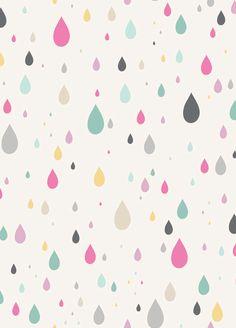 LAST 31 INCHES, Anthology Fabrics, Raining Rainbows, Raindrops in White. $8.00, via Etsy.