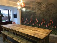 Handmade bespoke wooden the table has been made out of reclaimed scaffolding boards. all the boards are fully treated please fill free to ask any questions . These prices are for table only