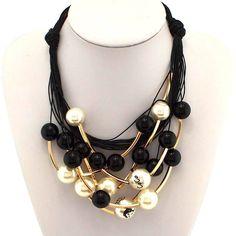 2014 коко себе бренд ювелирные изделия мода золотой трубки черный бусины чокеры многослойные дизайн женская ожерелья N1570, принадлежащий категории Подвески и относящийся к Ювелирные изделия на сайте AliExpress.com | Alibaba Group