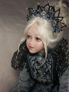 Купить Ева - серый, авторская кукла, принцесса, подарок, ручная работа, кожа, кружево