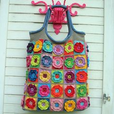 Crochet bag…you could make this with fabric flowers too!!!
