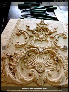 French panel - Louis XV Chamber a Coucher - Hotel Soubise Paris - door Agrell woodcarving Appliques Wood Carving Designs, Wood Carving Art, Clock Decor, Art Decor, Handmade Furniture, Painted Furniture, Dremel, 3d Interior Design, Internal Design