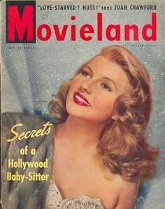 Rita Hayworth on the cover of Movieland magazine, May 1949, USA.
