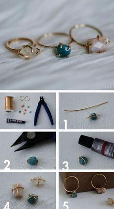 DIY Jewellery - stellen Sie Ihren eigenen zierlichen Stein-Set-Drahtring her - Bastelprojekt; handma ...,  #drahtring #eigenen #ihren #jewellery #stein #stellen #zierlichen