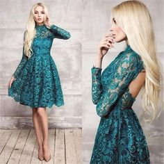 I know we said long but this is super cute. Lace Teal Long Sleeves Short Cocktail Dresses High Neck 2017 New Backless Knee Length Sexy Party Prom Dress Formal Gowns