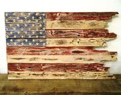 American Flag - Rustic American Flag Hand Crafted from Reclaimed Wood - Patriotic - Fourth of July Decor Pallet Flag, Pallet Art, Fourth Of July Decor, 4th Of July Decorations, July 4th, Patriotic Crafts, July Crafts, Patriotic Party, Pallet Ideas