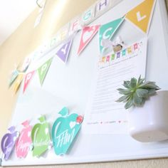 How gorgeous is this classroom?!?!  Just LOVE the colors.  The little succulent magnet won the whiteboard.  That Happy Class pennant banner is a must have.  Such a perfect editable and customizable classroom decor pack.  Want it.  Need it. Love it.