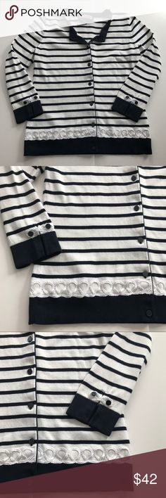 """Vineyard Vines Striped Nautical Cardigan Sweater Vineyard Vines Nautical Cardigan Sweater Blue & White Striped with White Cord Detail at Bottom Button Closure  Top Button is Missing - See Pic Size Small 17.5"""" underarm to underarm measured flat  23"""" long Vineyard Vines Sweaters Cardigans"""