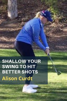 If you struggle with an out-to-in move from the top of your swing Alison Curdt's drill will help you feel the right positions that will get the shaft on plane resulting in better ball striking. #golf #golftip #golfswing #golflessons #womensgolf Golf Downswing, Play Golf, Golf Instruction, Golf Lessons, Ladies Golf, Golf Tips, Golf Ball, Plane, Outdoor Power Equipment