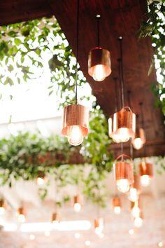 Copper lighting: http://www.stylemepretty.com/north-carolina-weddings/wilmington-nc/2015/06/12/courtyards-cobbletones-rustic-copper-engagement-wedding-inspiration/ | Photography: Millie Holloman - http://www.millieholloman.com/