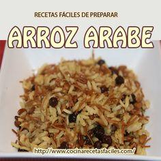 Arroz arabe Wild Rice Recipes, Healthy Recipes, Best Rice Recipe, Chilean Recipes, Tasty, Yummy Food, Middle Eastern Recipes, Arabic Food, Saveur